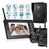 Campanello video Sistema citofono videocitofonico senza fili, monitor da 7 pollici Wifi + telecamera con campanello cablata, 3 x sistema di telecamere di sicurezza wireless, sistema touch screen per p