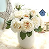 Longra Wohnaccessoires & Deko Kunstblumen Künstliche Seide Kunstblumen 9 Köpfe Blatt Hochzeit Blumen Dekor Bouquet Rose (04C: 1 Strauß)