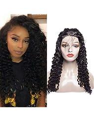 Maxine bouclés Lace Front Perruques Cheveux humains Densité de 130%  brésiliens bouclés perruque avec cheveux 361927f42d1
