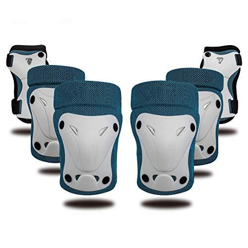 Lin-Tong Schutzausrüstung Set für Kinder, Kind Unterstützung Pad Kit für Knie Ellenbogen Handgelenk Sicherheit Pad für Skateboard Bike Roller - Blau (Schmutz Bike-helme Mädchen)