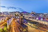 Poster 90 x 60 cm: Place de l'Europe in Lausanne, Schweiz