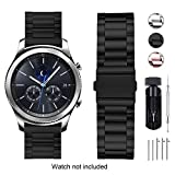 Fullmosa Bracelet Compatible pour Huawei Watch 2/Moto 360 2nd Gen/Samsung Gear S2 Classic/Pebble Time,20mm Bracelet Smart Watch pour Homme Femme,Noir Obsidienne