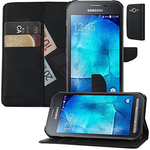 Buch Klapp Tasche Schutz Hülle Wallet Flip Case Etui für Samsung Galaxy Xcover 3 SM-G388F