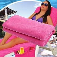 PWTY Recliner Cover Toalla De Playa Saco De Sol Cubierta De Playa Toalla De Baño Toalla De Jardín Cremallera Toalla De Secado Rápido Yoga Mat 75X210Cm, Rose Red