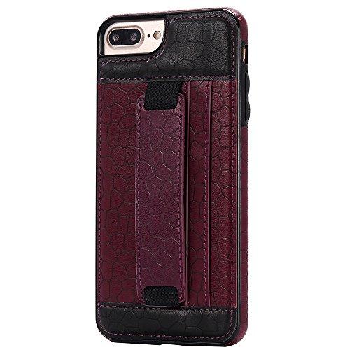 iPhone 5/5S/SE Case Hülle mit Kartenfach Kredit Karten Hülle Kunst Leder Handy Schutzhülle von Harrms, Stil 1 - Violett