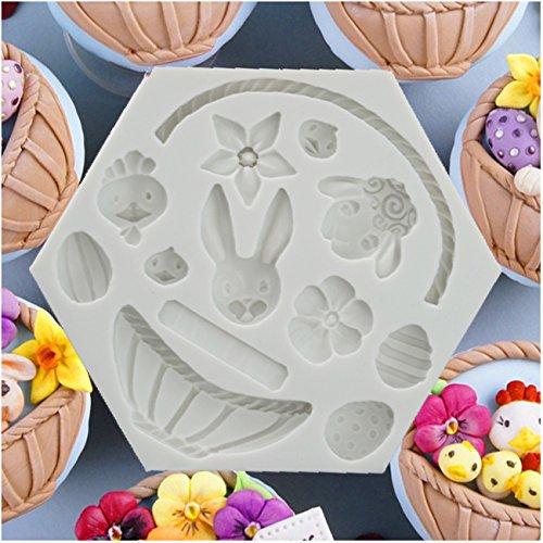1 Stück Ostern Ei Kaninchen Blumen Korb DIY Formen für Hochzeit Cup Kuchen Dekoration Silikonform Eiswürfel Fondant Gießform Silikon für Kuchen Backen Schokoladen Seife Gelee Muffin (Ostern Korb Ei)