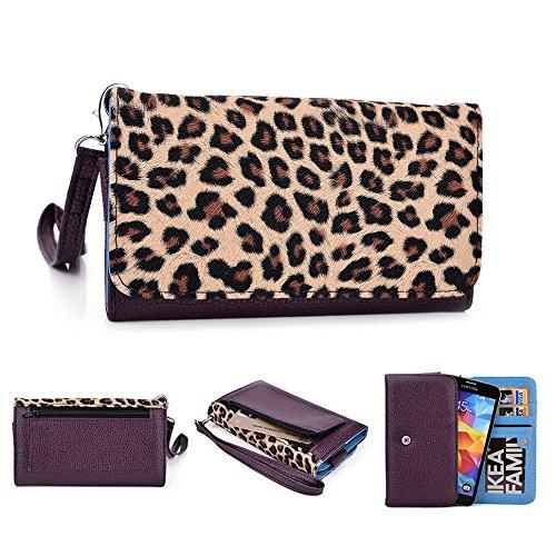 Kroo Housse de transport Dragonne Étui portefeuille pour Sony Xperia///M2/Z3Compact Mint Blue and White Violet/motif léopard