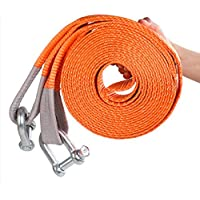 JIC PRODUCTS® CAR TOWING BELT 50MM X 4MTR LONG HEAVY DUTY STRAP WITH TWO HEAVY D CLAMPS FOR VEHICLE TOWING (ORANGE/RED/BLUE/YELLOW)