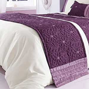 Lois Quilted Floral Purple Mauve Bed Runner 50cm x 200cm