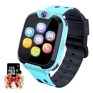 Reloj GPS Niños Smartwatch Phone - Reloj de Pulsera Inteligente con Ubicación GPS LBS Reloj con Call Voice Chat SOS Cámara Niños Cumpleaños (Azul) 2
