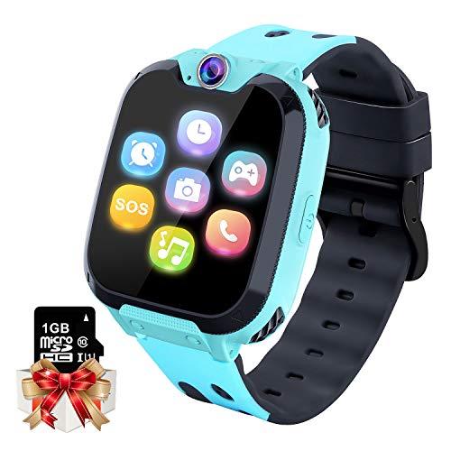 Smartwatch Kinder Telefon - Spiel Musik Kids Smart Watch [1 GB Micro SD Enthalten] mit Anruf Kamera Spiele Wecker Musik Player für Jungen Mädchen Alter 3-12 Blau