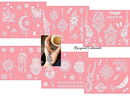 Mikronetz Tattoo Schablonen für Körperbemalung selbstklebend einfach und wiederverwendbar 6 Sheet set Pink (Sie Wird Nicht Vergehen)