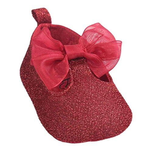 Baby Lauflernschuhe,Chshe Baby Girl Bowknot PU Leder Tuch Schuhe Sneaker Anti-Rutsch Soft Sole Kleinkind (11, (Tuch Rotes Elf Schuhe)