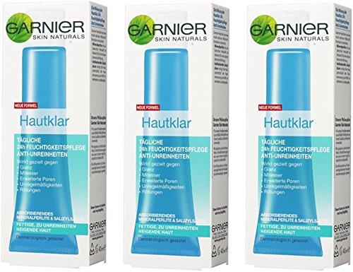 garnier hautklar anti pickel Garnier Hautklar Tägliche 24h Feuchtigkeitspflege, Anti-Unreinheiten, porenverfeinernd, mattierend, gleicht Hautunebenheiten aus, 3er Pack (3 x 40 ml)