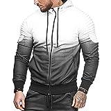 SEEU Herren Kapuzenjacke Trainingsjacke Gym Dünne Lange Hülsen Herren Bodybuilding Hoodies Pullover Baumwolle Weiß L