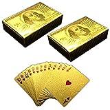 HAC24 2X 54 Spielkarten 100$ Gold Design | Pokerkarten Skatkarten | Kartendeck
