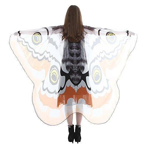 tterlingsflüGel KostüM Damen Fasching Schmetterling Weicher Gewebe FlüGel Schal Nymphen Pixie Cosplay Zusatz Umhang Mittelalter KostüMe Kleid(M,185 * 145CM) ()