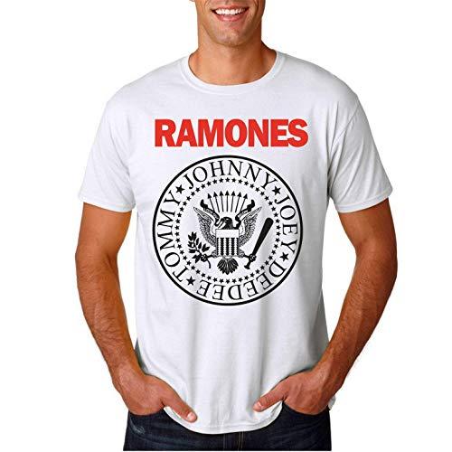 Ramones - Camiseta Hombre Manga Corta (Blanco, L)