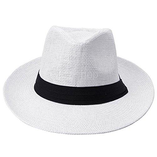 Bluelans® Strohhut Panama Fedora Hut Trilby Gangster Hut Sommerhut Sonnenhut mit Stoffband Jazz Hut (Weiß)