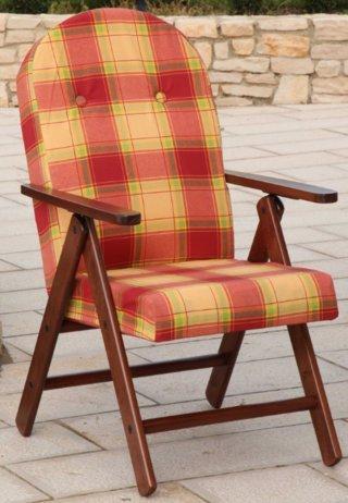 Poltrona sedia sdraio amalfi in legno reclinabile 4 posizioni cuscino imbottito h 105 cm soggiorno cucina salone divano (arancio)
