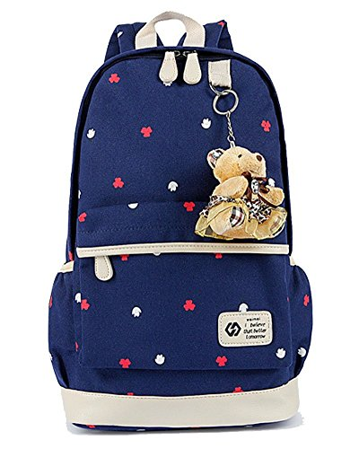 YiLianDa Zaino Tela Università Donna Zaini Femminili Scuola Zainetto Vintage Borsa A Tracolla Borsetta Messenger Bag Portafoglio Per Ragazze Scuro Blu