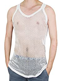 Mens 100% Cotton Fitted Muscle Fishnet String Vest Tank Top