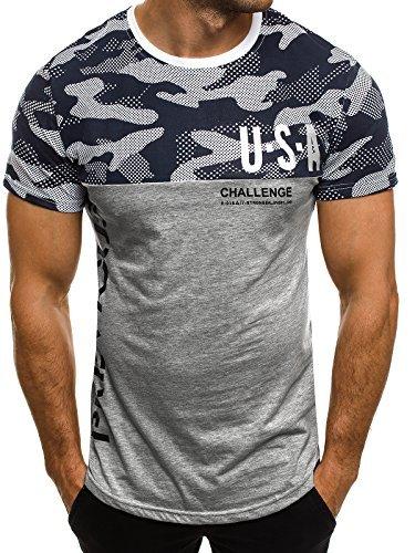 OZONEE Herren T-Shirt mit Motiv Kurzarm Rundhals Figurbetont J.STYLE SS125 Grau