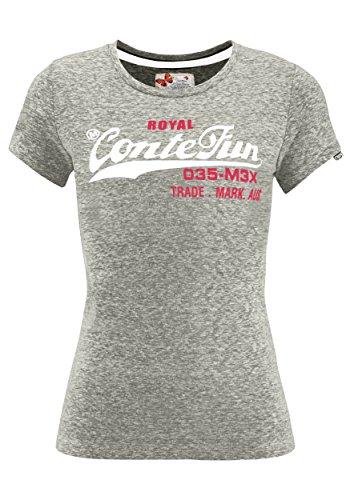 M.Conte Damen T-Shirt Kurzarm T Sweat-Shirt Neon-Pink Lila Grau Blau Rose Rot Grün Schwarz Marine Blau S M L XL Farbe Romana Grau Silber