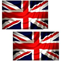 TWIN (2) PACK OF UNION JACK 5FT x 3FT GREAT BRITAIN FLAGS