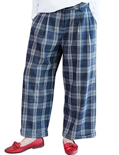 Youlee Damen Plaid Hose mit weitem Bein Style 2