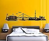 Wandtattoo Leverkusen Skyline Stadt Wand Sticker Aufkleber Wandbild 1M079, Farbe:Gelb glanz;Länge des Motives:200cm