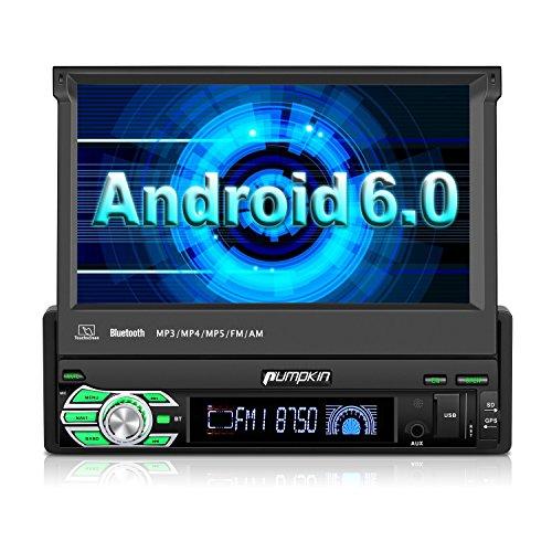 PUMPKIN 1 Din Android 6.0 Autoradio Moniceiver mit GPS Navi 7 Zoll/18 cm Bildschirm Unsterstützt Bluetooth Wlan DAB+ Subwoofer 3G (Android 6.0)