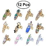 Frcolor 12pcs Nail Ring Set Rhinestone di cristallo Midi Anelli Nail Art Charms Anelli di barretta Decorazione per le donne Ragazze