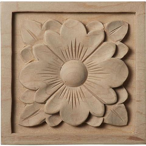 Ekena Millwork ROS03X03DGMA Medium Dogwood Flower Rosette, 3 1/2-Inch x 3 1/2-Inch x 3/4-Inch,