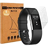 [6 Stück] Fitbit Charge 2 Displayschutzfolie, Rusee Clear Screen Protector Klar Panzerfolie Display Schutzfolie Displayschutz Folie [Schmutzresistent] [HD Anti-Luftpolsterfolie] [High Definition] für Fitbit Charge 2