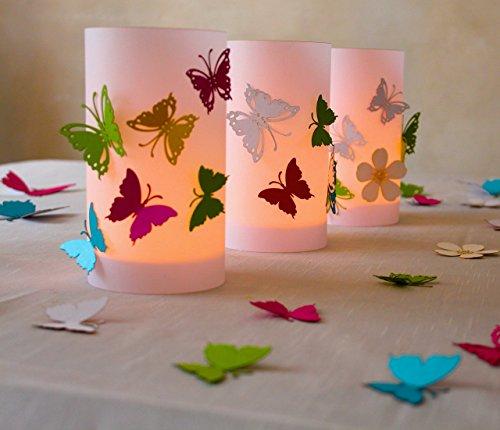 Kommunion   Windlicht   Tischdeko   bunte Schmetterlinge  9 cm Durchmesser höhe 16cm bunt 1stk