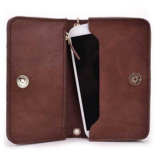 Kroo Pochette Cou en cuir fait avec dragonne pour Smartphone 12,7cm Housse de transport pour Yezz ANDY C5V/5T Beige - peau Marron - marron