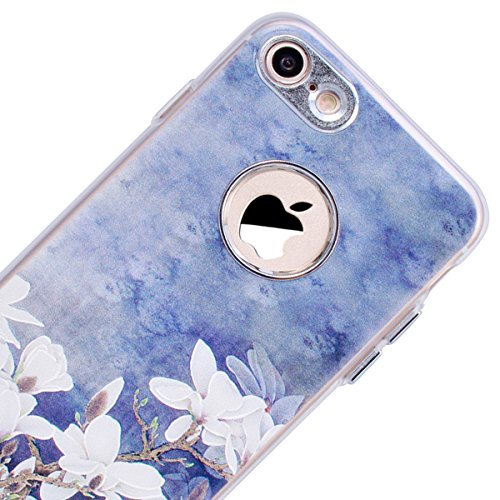 Cover iPhone 8,GrandEver iPhone 8 Custodia,3D Modello Design Morbido TPU Silicone Cover Slim Anti Scivolo Custodia Protezione Cover Case per iPhone 8 - Cucciolo Grigio Fiore