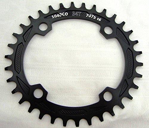 Aluminio Bicicleta Cadena Hojas Hojas Chain Anillo bcd104mm 32T 34T 36T 38tneu, negro