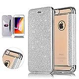 DasKAn Paillette Rabat Coque iPhone 5/5S/SE,Élégant Folio Porte-Carte Portefeuille...
