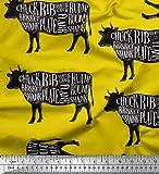 Soimoi Gelb strahlkrepp Stoff Text & Schablone Kuh Tier