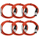 "Seismic Audio Seismic 6 Pack Red 1/4"" TRS To XLR Male 6' Patch Cables Red - SATRXL-M6Red6"
