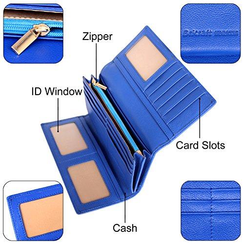 Donna RFID bloccante Portafoglio Trifold Ladies Borsa da viaggio in pelle di lusso in pelle marrone Blu