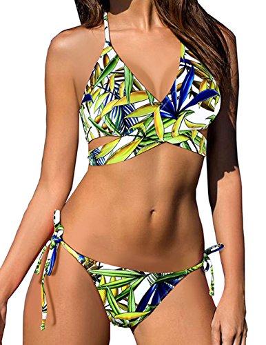 Lomon Sexy Bändchen Badeanzug gemustert Tankini Tropischer Triangle Bikini Krawatte Seiten Badeanzug (Seite Krawatte Bikini)