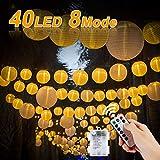 Vivibel Vivibel LED Lichterketten Lampions, Lichterkette mit Fernbedienung und Timer 40 LEDs Laternen 8 Modi Wasserdicht für Garten, Hof, Balkon, Batteriebetrieben (Warmweiß)