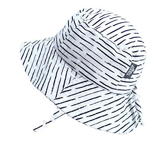 Jan & Jul Kleinkind Jungen Mädchen Baumwolle Fischerhut Sonnenhut 50 LSF, Kordelzug Größenverstellbar (M: 6-24 Monate, Weiß Wellen) - Monate 0 Junge Von Baby Hüte 6