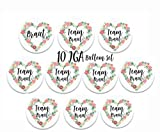 Happy Wedding Art 10 JGA Buttons Junggesellenabschied Button Team Braut Team Bride Buttons mit Ansteknadeln Trauzeugin Brautjungfer Braut Party-Ideen Deko Hochzeit 59mm