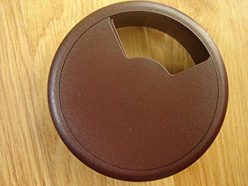 80mm dunkelbraun PC Computer Schreibtisch Kunststoff Tülle Tisch Kabel Tidy Draht Loch Abdeckung (Nette Schreibtisch-abdeckung)
