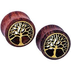 D&M Jewelry 2 Piezas Árbol de Vida Hueco Expansor de Túnel de Madera Pendientes de Oreja Ear Plug Piercing 12mm