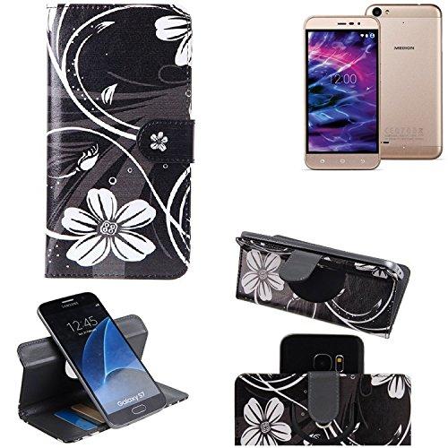 K-S-Trade Schutzhülle für Medion Life E5006 Hülle 360° Wallet Case Schutz Hülle ''Flowers'' Smartphone Flip Cover Flipstyle Tasche Handyhülle schwarz-weiß 1x